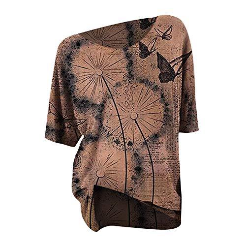 T-Shirt Damen Löwenzahn Schmetterling Retro Kurze Ärmel Rundhals Top Lässige Lose Kurzarm Tunika Bluse Shirt Oberteil Kleidung