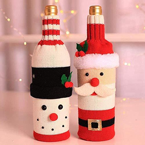 2 unids Navidad suéter botella de vino cubierta más nuevo botella de vino ropa conjunto para Navidad boda fiesta mesa decoración