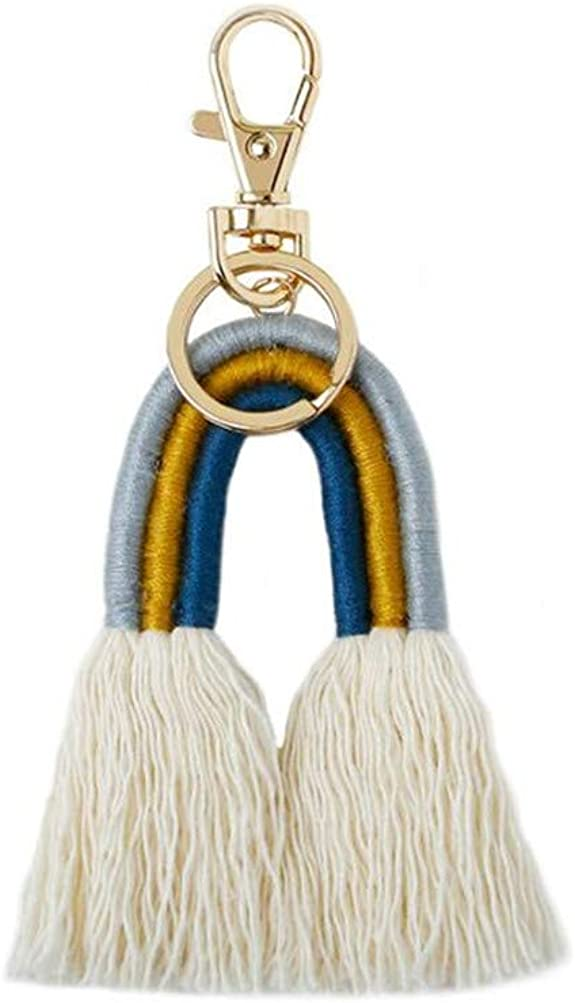 annafoya Bohemian Colorful Rainbow Tassel Hand-Woven Rope Strap Keychains Bag Pendant Keyring Key Holder for Women Girls