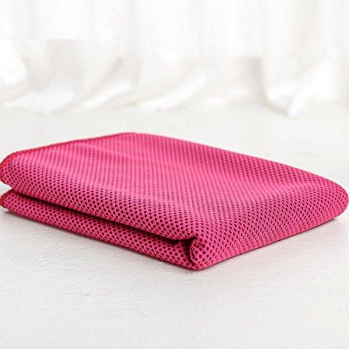 Yi-xir Suave y Duradero 30x100cm Microfibra grieta Absorbente Verano Toalla fría Deportes Playa Caminata Viaje escalofriante toalt Ligero y Elegante (Color : Rose Red)