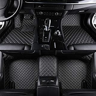 Custom Car floor mat Front & Rear Liner 8 Colors with Gold Lines for Mercedes-Benz GLK 350 2012-2015(Black)