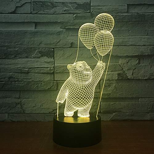 DKIPN Netter Bärenballon 3D Illusion Lampe Geburtstag Weihnachtsgeschenk Led Nachtlicht Schlafzimmer Tischlampe Für Kinder, 16 Farben Ändern Touch Control Usb Nachttischlampe Dekoration Lampen