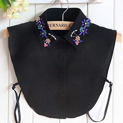 Huaheng Mode Vrouwen Shirt Nep Kraag Afneembare Kristal Bloem Valse Collars Lapel Blouse Top Lady Meisje Kleding Accessoires 2 Zwart