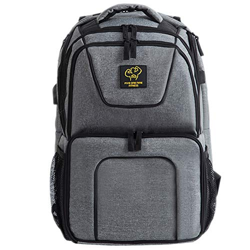 519 Fitness Meal Prep Backpack Insulated Waterproof-Cooler Lunch Backpack bag Hiking Backpack for Men and Women-Picnic Cooler Backpack with 3 Meal Containers and 2 Ice Packs (grey)