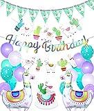 Regendeko Happy Birthday Alpaca Set Decoración de cumpleaños, diseño de alpaca, color verde