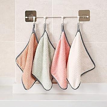 Creativo engrosamiento Toalla de lavavajillas Coral Velvet Wipe Mantel toalla puede colgar toalla de mano sin perder pelo absorbente trapo de limpieza