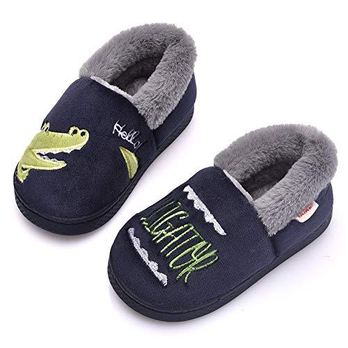 Ainikas Toddler Boys Girls Slippers Fluffy Little Kids House Slippers Warm Fur Cute Animal Home Slipper, Dark Blue 6-7 Toddler