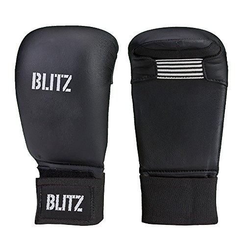 Blitz Elite Box-Handschuhe ohne Daumen–schwarz blau rot weiß–für Karate/Taekwondo, PU