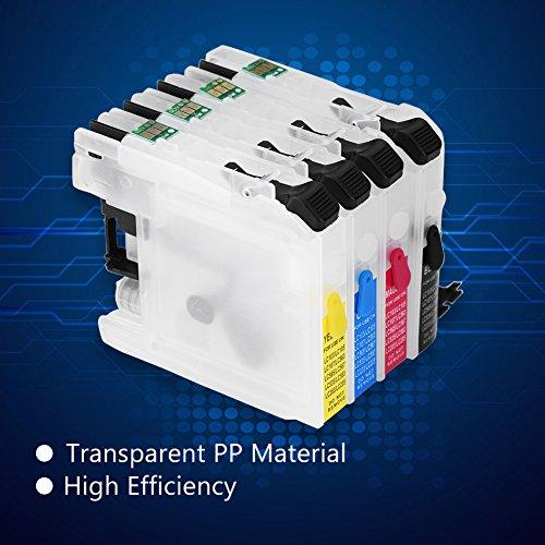 T osuny Cartucho de Tinta Recargable vacío Universal Transparente, con Chip de reinicio automático, para Impresora Brother MFC-J480DW, J485DW, J460DW