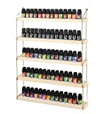 J JACKCUBE DESIGN Wall Mount Essential Oils Display Shelf with 5 Tier for 70 Bottles Holder Gold Frame and Wood Rack Organizer - MK482B