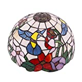 Tiffany Lamp Shade Replacement W12H6 Inch Stained Glass Hummingbird Design Lampshade Only Fit for Table Lamps Ceiling Fixture Pendant Light S101 WERFACTORY Living Room Bedroom Nightstand Desk Bedside