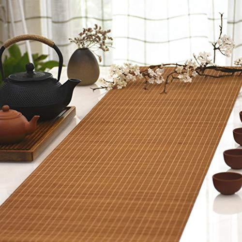 Camino De Mesa De Bambú Natural De Estilo Japonés, Mantel Antideslizante, Manteles Individuales De Cocina para El Hogar, Cortina De Bambú De Sombra, Marrón(Size:80×160cm)