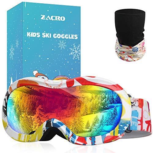 Zacro Maschere da Sci Bambino, Occhiali da Sci Maschera Sci Bambino Occhiali Sci OTG per Ragazzo Ragazza Anti UV Anti Nebbia Compatibile con Casco per Sci Snowboard Sport Invernali