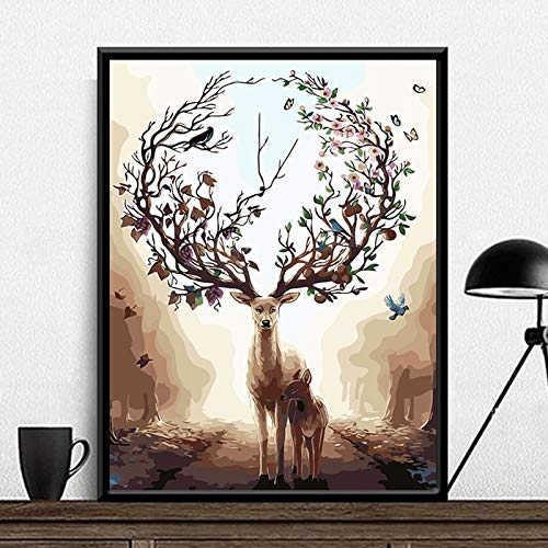 mlpnko Hirsch und Sohn Tier abstrakte DIY Digitale Malerei Kunst Leinwand einzigartige Geschenk Hauptdekoration 40X50cm Rahmenlos