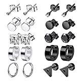 10 Pairs Negro Pendientes,Pendientes Acero Inoxidable Hombres,Pendientes Sin Alergias Hombres,Neutral Earrings In A Mix Of Silver And Black,Used On Ear Cartilage Or Other Parts
