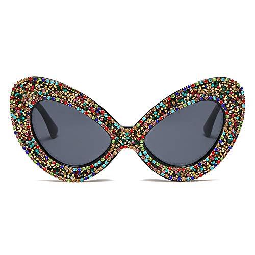 Zonnebrillen, Zonnebril Met Pearl Steentjes, Vlindervormige Goggles, UV-Bestendig Bril Voor Onderweg,Rhinestone