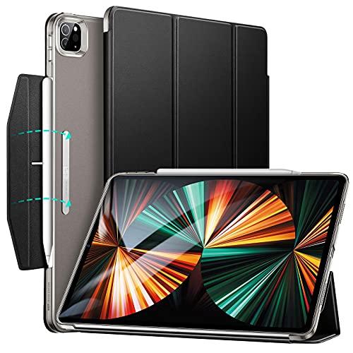 ESR iPad Pro 12.9 ケース 第五世代 5G 2021年モデル 半透明 三つ折りスタンド オートスリープウェイク対応 Pencil 2ワイヤレス充電対応 留め具付き(ブラック)