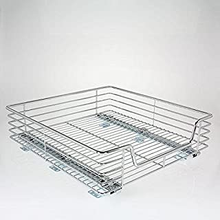 Household Essentials C2021-1 Glidez Extra-Deep Sliding Organizer - Pull Out Cabinet Shelf - Chrome - 20 Inches Wide