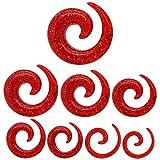 Set Espiral Extensor Dilatador Taper Piercing por Túnel Plug Tunnel 1,6-10mm Glitter Rojo 1,6 2 3 4 5 6 8 10 mm