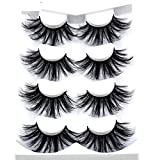 HBZGTLAD NEW 4 Pairs 3D Mink Hair False Eyelashes Criss-cross Wispy Cross Fluffy length 25mm Lashes Extension Handmade Eye Makeup Tools (MDR-4)