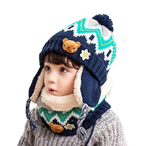DORRISO Enfant Casquette et Écharpe Casquettes Garçon Fille Hiver Printemps Chapeaux Naissance Bébé Mignonne Pompon ChapeauxBleu B,taille unique,Bleu B