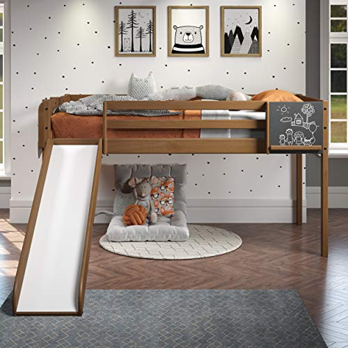 Naomi Home Cindy Kids Wood Loft Bed with Fun Slide and Ladder Latte/Twin