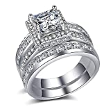 aiyuyu Wedding Rings Engagement Rings for Women Anniversary Promise Ring Bridal Sets 925 Silver Infinity White Cubic Zirconia CZ Ring Size 6-10 (9#)