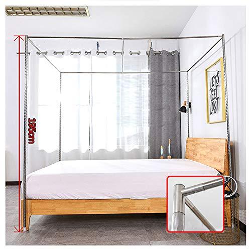 HOXMOMA Moskitonetzrahmen mit Metall-T-Stück, Verdickter Edelstahlrohrbettständer, Halterung für Bed Canopy, Fit für Single Double King Bett,24mm,2×2.2m Bed