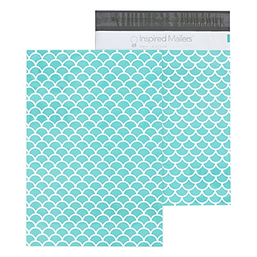 Inspired Mailers - Poly Mailers 10x13-100 Pack - Aqua Mermaid Scales Deluxe - Shipping Bags for Clothing - Mailing Envelopes - Shipping Envelopes - Mailing Bags - Package Bags
