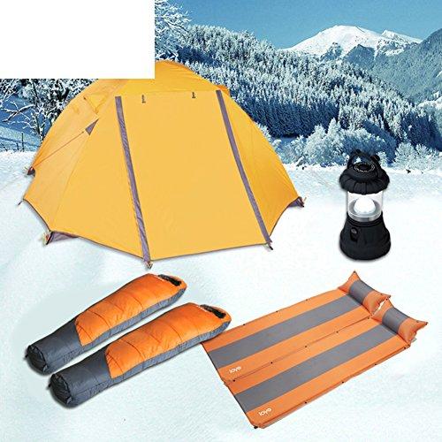hhsgcggy Snow Camp Zelt-Lodges im Winter eingestellt/Dicke Schlafsäcke/automatische aufblasbares Zelt Licht-A
