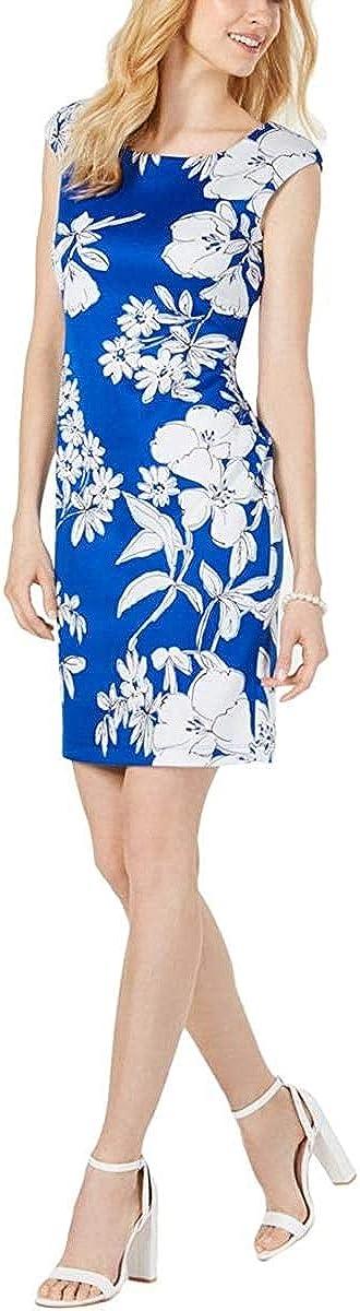 Connected Women's Petites Floral Cap Sleeve Sheath Dress Royal Blue 14P