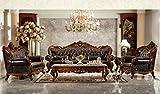 Ma Xiaoying echtes Leder, Massivholz Buche, traditionelles Wohnzimmer Möbel Set (Sofa, Liebesschaukel und Stuhl und 2tables), dunkelbraun by MA Xiaoying