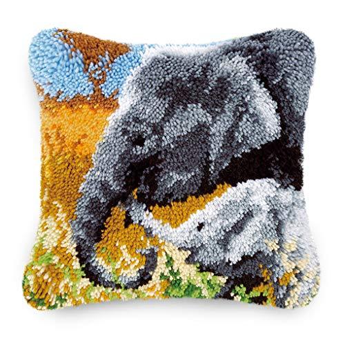 "MLADEN 17"" X 17"" Latch Hook Kits Pillow for DIY Throw Pillow Cover Sofa Cushion Cover Latch Hook Craft Kit Pillow (Elephant)"