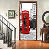 LOVEJJ Tür Tapete Selbstklebend Telefonzelle Mauer Tür