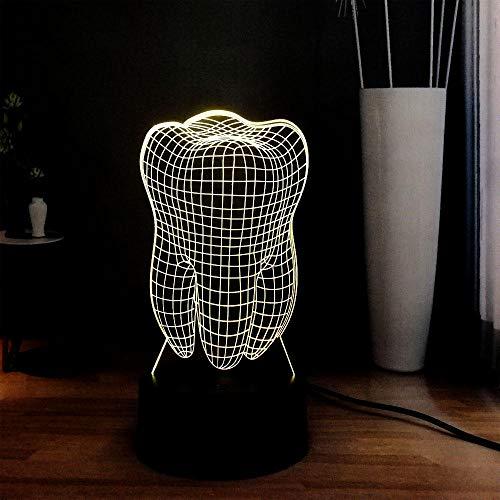 Lámpara de ilusión 3D Luz de noche LED Dientes lindos 16 Cambio de color Control remoto Toque en casa Clínica dental Dec Lámpara de mesa de noche Vacaciones Niños Amigos Juguete de regalo para niños