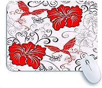 ECOMAOMI 可愛いマウスパッド 花柄聖霊降臨祭ハイビスカスとハチドリ 滑り止めゴムバッキングマウスパッドノートブックコンピュータマウスマット