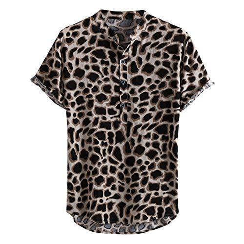 TOTAMALA Men's Leopard Print Shirt Chest Bag Lapel Short Sleeve Casual Loose Beach Hawaiian Shirt (Brown XL)…