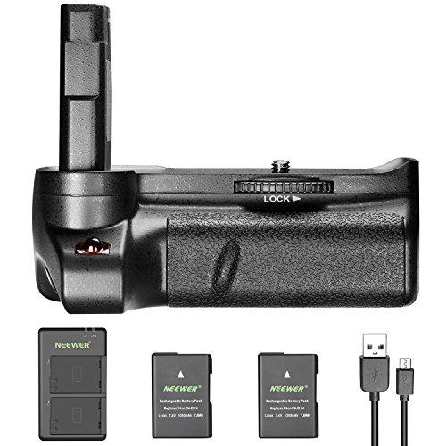 Neewer Empuñadura Vertical Batería para Nikon D3400 Cámara Réflex Digital con 2 Piezas 7.4V 1050mAh Nikon EN-EL14 EN-EL14A Reemplazo de Baterías de Iones-Litio (Negro) y Cargador de Batería USB Doble