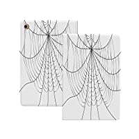 iPad Pro 12.9 ケース 2020 クモの巣、クローズアップクモの巣のデザインモノクロデザイン要素キャッチネットワーク恐怖装飾、グレーブラックホワイト クモの巣 軽量 TPU レザー スマート 耐衝撃 傷防止 クリア ハード スタンド オートスリープ ウェイクアップ 機能 グレーブラックホワイト