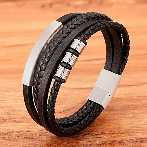 Jewellery Bracelets Bangle For Womens Stainless Steel Black Multilayer Leather Bracelet For Men Clasp Button Vintage Male Braid Bangle Jewelry-Steel_21Cm