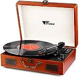 Giradischi, Amzdeal Giradischi, lettore portatile in vinile a 3 velocità con 2 altoparlanti, il supporto per la connessione Bluetooth, con RCA e cricci di cuffie, stile vintage, venatura del legno