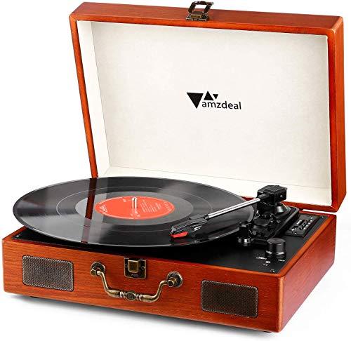 Tocadiscos, Amzdeal Tocadiscos 33/45/78 RPM, Maleta Portátil con 2 Altavoces Integrados, Tocadiscos de Vinilo de Estilo Vintage, Función Grabación/MP3, Bluetooth/USB/Tarjeta SD, Grano de Madera