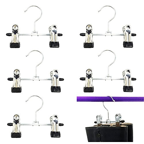 Mmei 6 pcs Adjustable Heavy Duty Laundry Hook Hanging Clothes Stainless Hanger Home Travel Portable Boot Hanger Boot Holder Boot Clips Boot Organizer