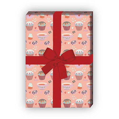 Kartenkaufrausch muffin cadeaupapier set met theekopjes voor leuke cadeauverpakking, designpapier, scrapbooking 32 x 48 cm, decoratiepapier, inpakpapier om in te pakken, roze