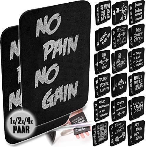 C.P.Sports - Almohadillas de Agarre para Fitness, Entrenamiento, Culturismo, Entrenamiento de Pesas y Entrenamiento de Fuerza (1 par, 2 x 4 x 4 mm, 10 x 14 cm), Never Give UP, 1x Pareja