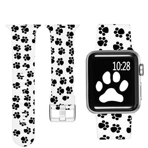 Laffav Compatible with Apple Watch Band 40mm 38mm iWatch SE & Series 6 & Series 5 4 3 2 1 for Women, Paw Print, S/M