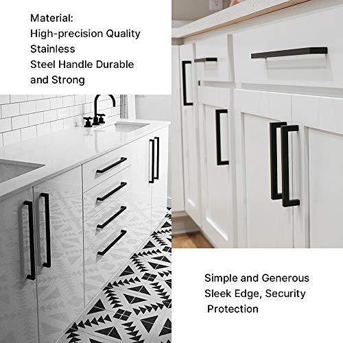 goldenwarm Cabinet Pulls Black Cabinet Handles (15 Pack)- HDJ12BK 7-1/2in(192mm) Hole Centers Drawer Pulls Black Cabinet Hrdware Cabinet Door Handles for Kitchen Cabinets
