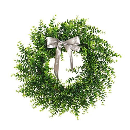 ABOOFAN Christmas Garland Artificial Eucalyptus Bowknot Door Decor (Green) Party Favors