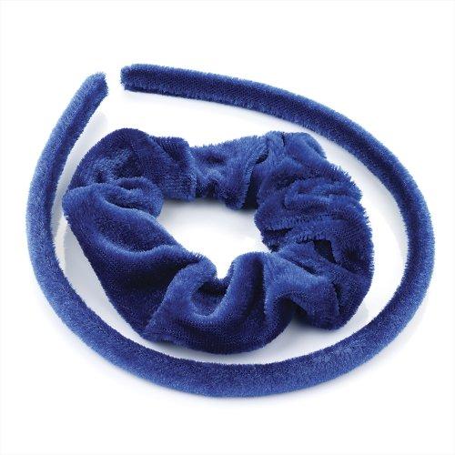 Recouvert de tissu en velours bleu royal Alice de bande cheveux et Chouchou