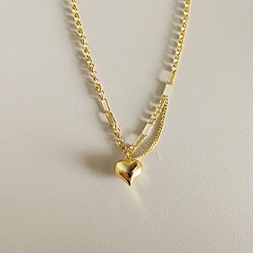 ShSnnwrl Colgante Collar de Plata esterlina S925, Collar con Colgante de corazón Dorado para Mujer, encantos de joyería Fina de p